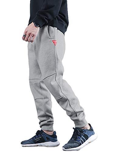 メンズ ジョガーパンツ 裏起毛 厚手 暖パン 防寒 暖かい テーパード 大きいサイズ 冬服 S~3XL (厚手グレー, XXL)