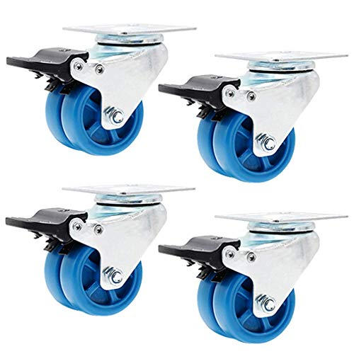 Set of 4 Swivel Plate Caster,PA Nylon Castors,Metal Furniture Wheel,360° Top Plate Installation,Silent,Wear-Resistant,Double Wheel,Blue,for Chair Coffee Table Flower Stand (1.5in,Brake)