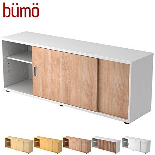 Hamerbacher Sideboard met schuifdeur | Office schuifdeurkast | voor ordner & opbergruimte voor materiaal kantoormeubilair | in 12 kleuren Weiß/Nussbaum