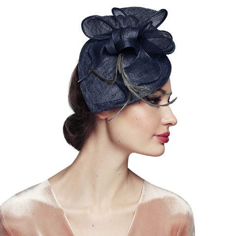 Navy Blue Fascinator Headband Wedding Derby Tea Party Hats for Women