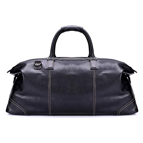 Dfghbn Travel Bags Leather Men's Large Travel Bag Handbag Travel Luggage Business Handbag Overnight Luggage Shoulder Bag Travel Bags For Men And Women (Color : Black, Size : 18x26x60cm)