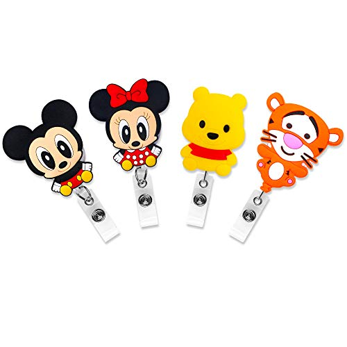 Finex 4 Pcs Set Mickey Mouse Minnie Mouse Winnie The Pooh Tigger Retractable Badge Holder ID Badge Reel Clip On Card Holders