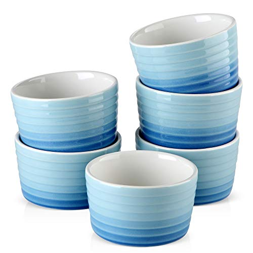 MALACASA, Series Ramekin, 300ML Porcelain Ramekins Dishes Set of 6, Ramekins Souffle Dishes Brulee Dish for Muffin Cupcakes Pudding Brulee Ice Cream, 10 x 10 x 6 cm, Blue