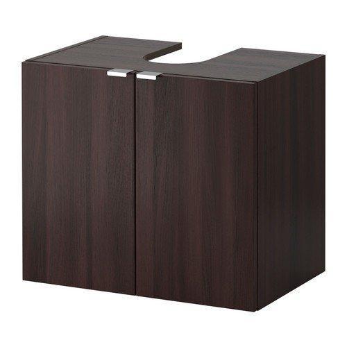 IKEA LILLANGEN Waschbeckenunterschrank mit 2 Türen; in Schwarzbraun; (60x38x51cm)