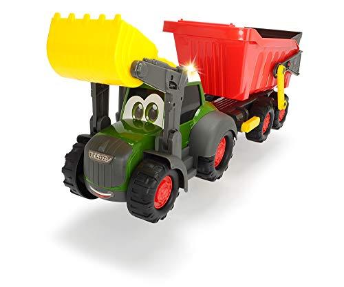 Dickie Toys Happy Farm Trailer, Fendt Spielzeugtraktor mit Anhänger, Licht und Sound-Effekten, für Kleinkinder und Kinder ab 12 Monaten, 65 cm