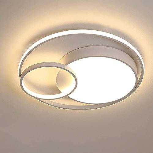 YSNJG Techo Aro De Luz LED Regulable Dormitorio Cocina Sala De Estar De Interior del Techo Simple Luz De Metal Acrílico Encender La Luz Interior del Techo (Blanco),60cm