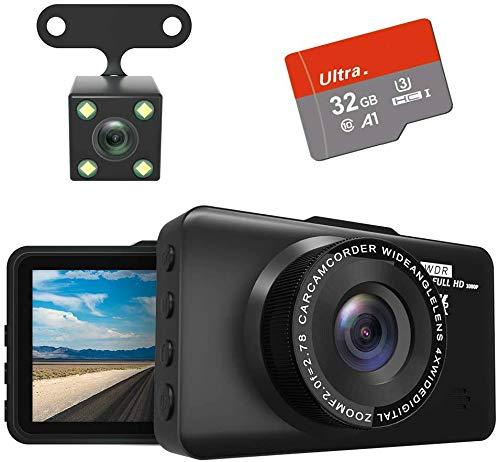 TIANLE Dash CAM Cámara Frontal y Trasera FHD 1080P con visión Nocturna, cámara de salpicadero con Pantalla IPS de 3 Pulgadas para Coches, cámara de salpicadero con Gran Angular de 170 ° G-Sensor HDR