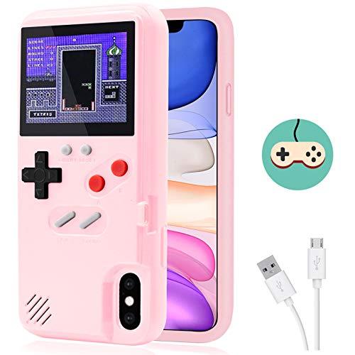 Dikkar Game Funda para iPhone, Estuche Autoamplificado con Cubierta Protectora Retro con 36 Juegos Pequeños,Pantalla a Color,Estuche para Videojuegos para iPhone X/Xs/MAX/Xr/6s/7/8P/11/12Pro/Max/Mini