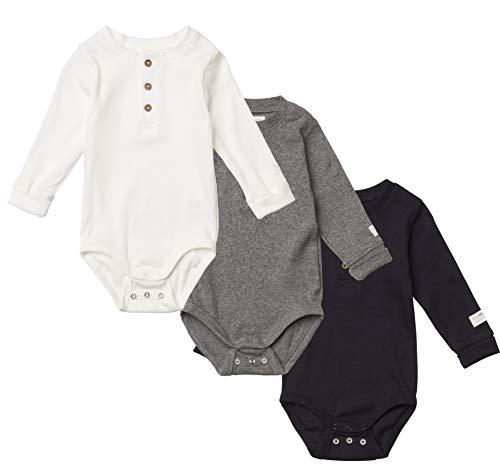 Tiny One Baby Body im 3er Set | Unisex | Mädchen und Jungen | Basic Farben | Schwarz | Grau | Weiß | Biologische Baumwolle | GOTS | 0-18 Monate, Größe:56 | 1-2 Monate