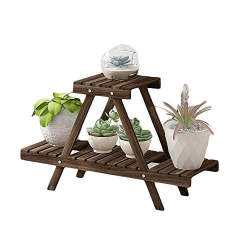 Plant Stand JT- Pot de fleurs pliable à 2 étages en bois pour la maison, le jardin, la terrasse - Multifonction - Couleur : marron - Dimensions : 75 x 26 x 45,5 cm