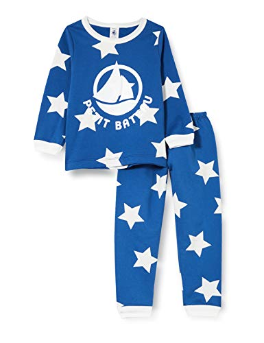 Petit Bateau Pyjama mit Sternen, für Jungen, aus Molton Gr. 5 Jahre, Major/Ecume