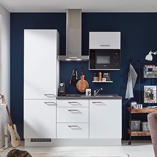 Küchenzeile Einbauküche nobilia elements SINGLE | Beton Schiefergrau | 1,80 m | vormontiert | inkl. E-Geräte