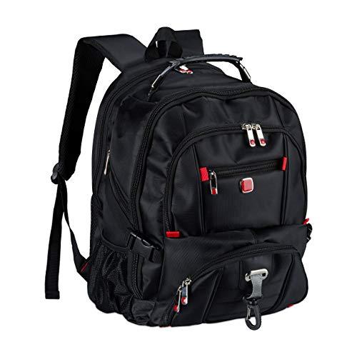 Relaxdays Business Rucksack, für Herren & Damen, Daypack mit Laptopfach, 15,6 Zoll, wasserabweisend, bis 20 kg, schwarz