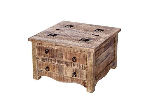 DuNord Design salontafel natuur 70 cm mango massief hout industrieel ontwerp