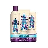 Aussie, Hydrate Miracle Shampoing 300ml, Après-shampoing 200ml et Soin Intensif Hydratants 250ml, Pour Cheveux Secs, À L'Huile De Macadamia