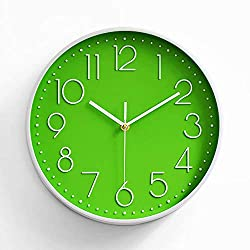 Preciser Vintage Wall Clock 12 Inch with Numbers Excellent Accurate Sweep Movement Elegant Kitchen Modern Hanging Wall Clock - Green