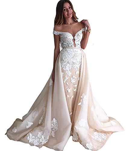 CGown Sexy V-Ausschnitt Champagnerfarbene Spitzenapplikation Brautkleid mit abnehmbarem Zug, Meerjungfrau-Hochzeitskleid für Frauen Gr. 34, champagnerfarben