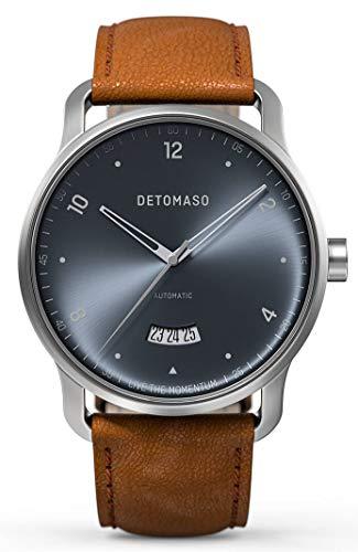 DETOMASO VIAGGIO Automatic Silver Blue Herren-Armbanduhr Analog Quarz Italienisches Lederarmband Braun