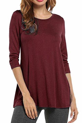 Hotouchch Basic Shirt met 3/4 mouwen, ronde hals, ronde hals.