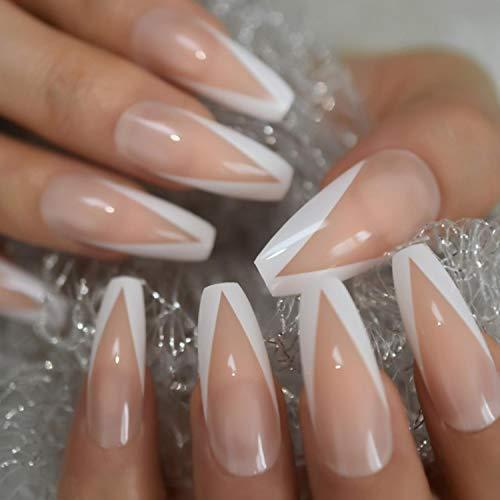 Nude Color False Artificial Nail Tip Medium French Almond Nail Tips For Acrylic Nails Fake Nail White Border