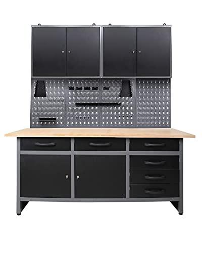 Ondis24 Werkstatteinrichtung 160 cm breit, Werkbank, Werkzeugschrank, Werkzeugwand