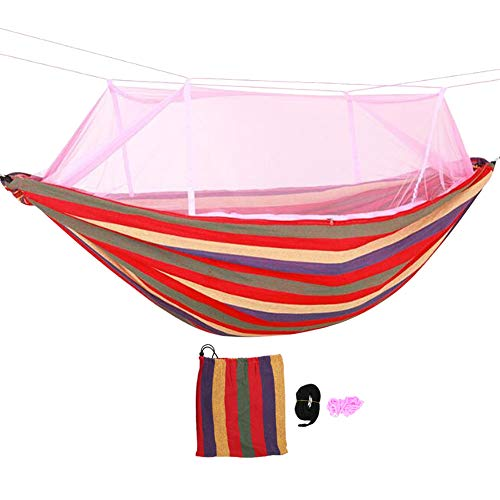 Yosoo123 230150cm Courtyard Thick Hammock with Mosquito Account Outside Mosquito-Proof Anti-Rollover Double Swing to Send Tied Tree Tied Outdoor Net (01)
