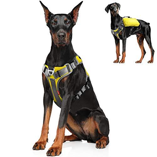Fida Hundegeschirr, multifunktional, kein Ziehen, Haustierweste mit Satteltaschen, Rucksack, Leine vorne, verstellbar, weich gepolstert, reflektierend, strapazierfähig, für XL-Hunde, XL, Gelb