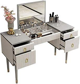 Homary Bedroom White Grey Makeup Vanity Desk with Flip Top Mirror, Corner Dressing Table with 4 Drawers Storage Organizati...