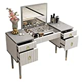 -Chic & Lustrous: The chic vanity table matches with gold accents perfectly to create a glamorous, sparkly look in your bedroom. -Large Storage: 4 drawers and a lift top give you adequate storage space to organize your jewelry, hair accessories, nail...
