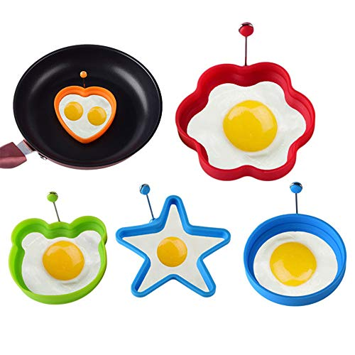 5 Pack Silicone Egg Rings, Non-Stick Silicone Egg Frying Rings Heat-Resistant Poached Egg Cooking Rings Molds for Fried Eggs, Pancakes, Mcmuffin, Omelettes, Crumpets
