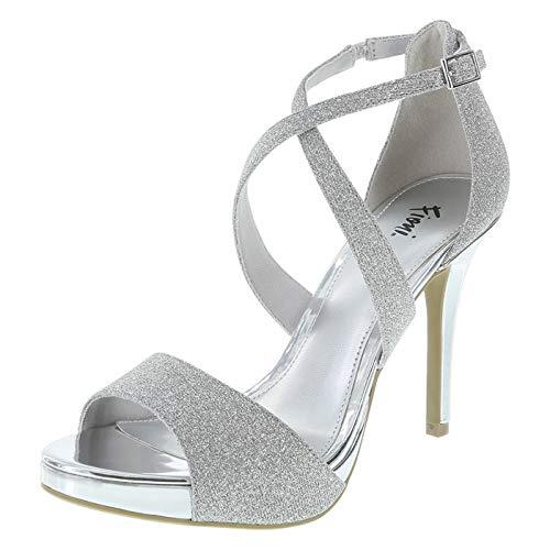 Fioni Silver Women's Halle Platform Sandal 9 Regular