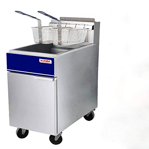 Premium Commercial Deep Fryer - KITMA 75 lb. Liquid Propane 5 Tube Floor Fryer with 2 Fryer Baskets - Restaurant Kitchen Equipment for French Fries, 150,000 BTU/h