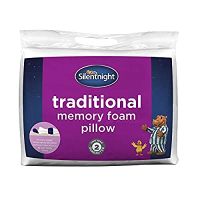 Silentnight Memory Foam Pillow, microfibre, White, Single