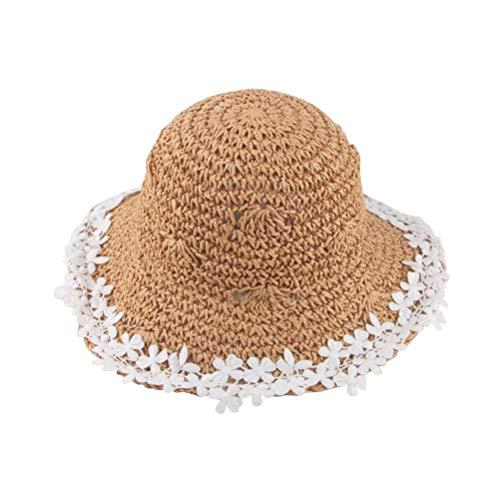 Bébé filles chapeau de paille décoration protection contre le soleil chapeau réglable dentelle bordée été chapeau tissé pour la plage en plein air