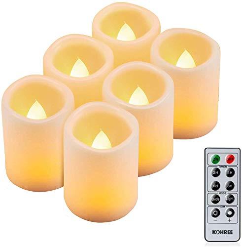 Kohree 6 x Candele LED Senza Fiamma con Timer Controllato da remoto Batteria luminosità regolabile LED lampeggiante Candele san valentino decorazioni Casa Camera Party Partito Matrimonio regalo