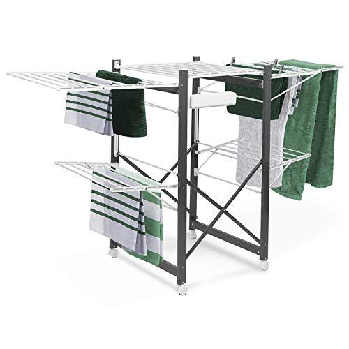 IDMarket - Séchoir Deluxe Design Imitation Bois Gris étendoir Extensible  Pliable