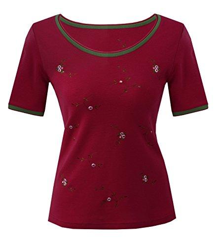 Moschen-Bayern Damen Trachtenshirt Shirt Tshirt Trachten T-Shirt Edelweiß Hirsch Rot 40