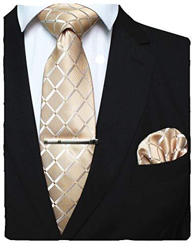 JEMYGINS Gold seide Plaid Krawatte und Einstecktuch mit krawattenklammer Set für Herren Seidenkrawatten Hochzeit Schlips (4)