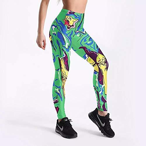 Leggings con Estampado Digital de cómics Verdes para Mujer Pantalones Deportivos Push Up Conjunto Deportivo de Gimnasio Mallas de Yoga Ropa Deportiva de Elasticidad