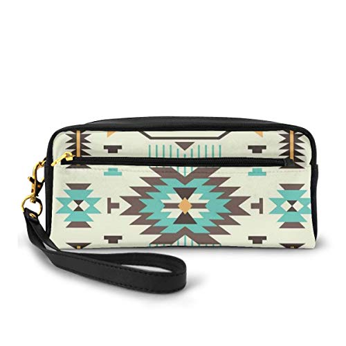 Pencil Case Pen Bag Pouch Stationary,Ethnic Pattern Design from Ancient Aztec Culture with Indigenous Zigzag Motifs,Small Makeup Bag Coin Purse