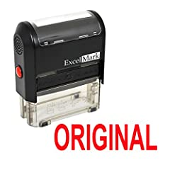 "Features a two-sided ink pad that doubles the number of impressions and the useful life of the stamp pad Attractive, clear mount which allows you to accurately line up your stamp impression Re-inkable Prints in Red Ink Impression Area: 9/16"" x 1-1/2"""