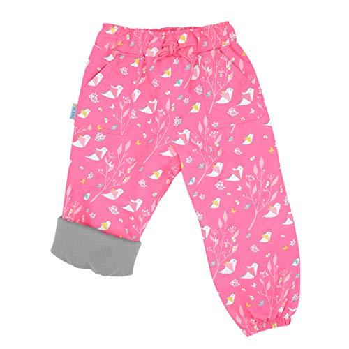 JAN & JUL Girls' Rain Pants, Water-Proof Outer-wear Kids (Fleece-Lined: Origami, 8 Years)