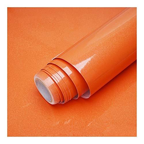 HDS 1M / 2M Moderne Wohnzimmer-Möbel Tischwasserdicht Marmor Tapeten Vinylselbstklebenden Kontakt Papier Solid Color Home Decor (Color : Shiny Orange, Dimensions : 40cm x 2m)