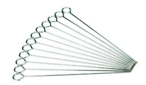 ITP Lot de 12 pics à brochettes en acier Idéal pour brochettes de viande ou légumes Extra-long 35 cm
