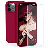 zelaxy Case Compatible with iPhone 12 Pro Max,Liquid Silicone Rubber Gel Case with Screen Protector for iPhone 12 Pro Max 6.7 inch(Wine Red)