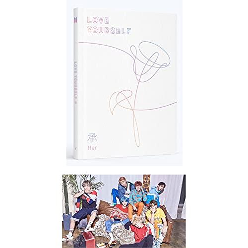 Big Hit Entertainment BTS Love Yourself Her 5th Mini álbum [versión V] CD + póster + foto + mini libro + pegatinas + (Extra BTS 6 fotos + 1 tarjeta de doble cara + pegatina con logotipo)