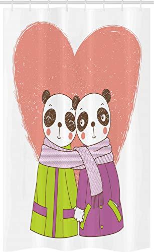ABAKUHAUS Panda Douchegordijn, Minnaars die handen houden, voor Douchecabine Stoffen Badkamer Decoratie Set met Ophangringen, 120 x 180 cm, Veelkleurig
