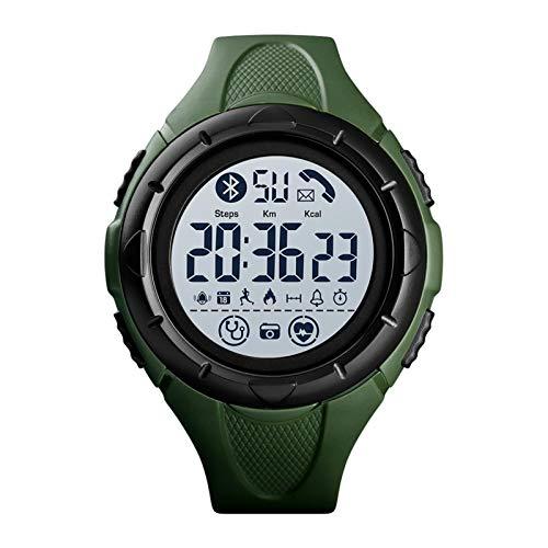 YDL Mira El Reloj Inteligente De Los Hombres del Reloj De Lujo del Sueño del Lujo del Monitor SmartWatch Waterproof Digital Relojes Hombres Reloj Android iOS (Color : Green White)