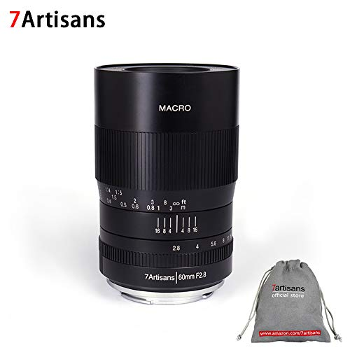 7artisans 60mm F2.8 Manual APS-C Prime Macro Aluminum Lens for Sony E Mount Mirrorless Cameras A6500 A6300 A6100 A6000 A5100 A5000 A9 NEX 3 NEX 3N NEX 5 NEX 5T NEX 5R NEX 6 7