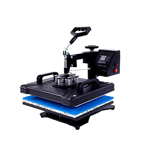 12x10 Heat Press Machine for t Shirts Swing Away Heat Press Digital Sublimation Machine Power Press Industrial Quality Heat Press and HTV Vinyl Projects(Black,Only One Machine)